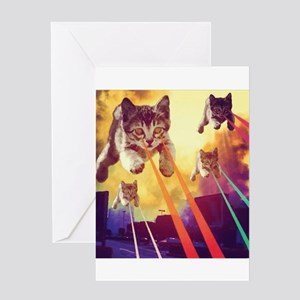 Laser Eyes Space Cats Flying T-Shir Greeting Cards