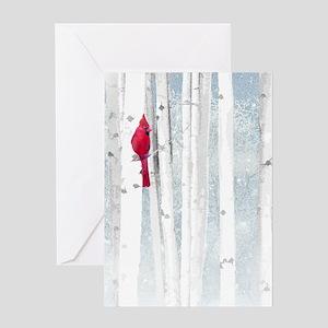 Red Cardinal Bird Snow Birch Trees Greeting Cards