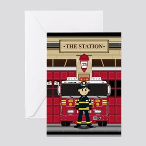 Fireman and Fire Engine Greeting Card