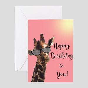 Giraffe Birthday Greeting Cards