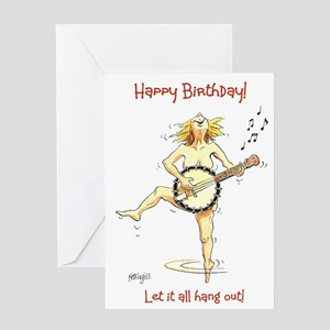 Happy Birthday greeting card - let it all hang out