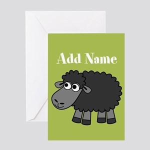 Black Sheep Add Name Lime Greeting Cards