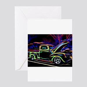 1940 Ford Pick up Truck Neon Greeting Cards