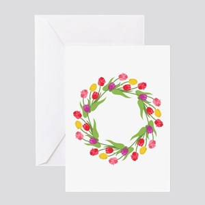 Tulips Wreath Greeting Cards