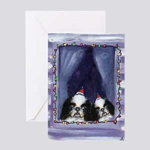 JAPANESE CHIN Christmas light Greeting Cards (Pack