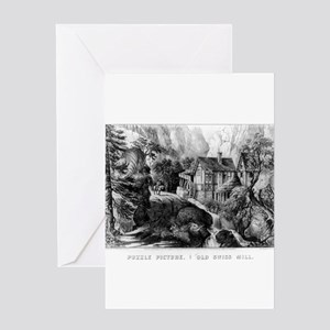 Old Swiss Mill - Puzzle Picture - 1872 Greeting Ca