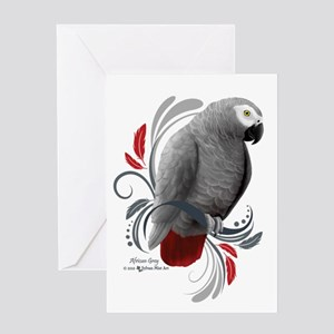 African Grey Greeting Cards