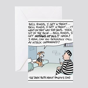 Pavlov's Dog in Jail Greeting Cards