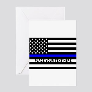 Thin Blue Line Flag Greeting Card