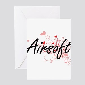 Airsoft Artistic Design with Hearts Greeting Cards
