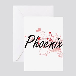Phoenix Artistic Name Design with H Greeting Cards