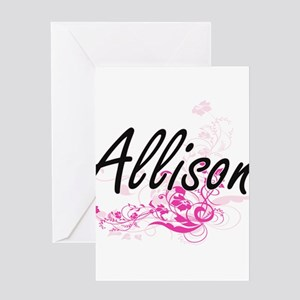 Allison Artistic Name Design with F Greeting Cards
