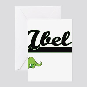 Abel Classic Name Design with Dinos Greeting Cards