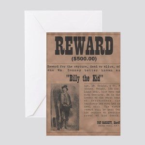 Billy the Kid Wanted Poster by McMin Greeting Card