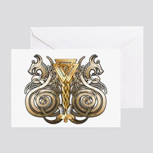 Norse Valknut Dragons Greeting Card