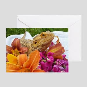 Floral beardie Greeting Card