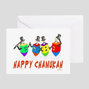 Happy Hanukkah Dancing Dreidels Greeting Card
