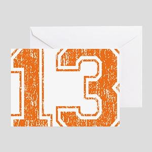 Retro 13 Orange Greeting Card