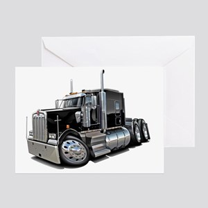 Kenworth w900 Black Truck Greeting Card