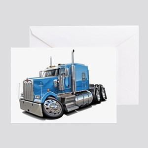 Kenworth w900 Lt Blue Truck Greeting Card