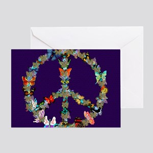 Butterfly Peace Sign Blanket 1 Greeting Card