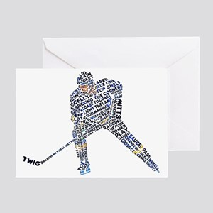 Hockey Player Typography Greeting Card