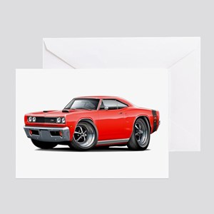 1969 Super Bee Red-Black Car Greeting Card