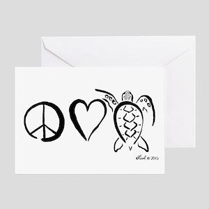 Peace, Love & Turtles Greeting Card