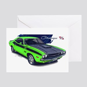 Dodge Challenger Green Car Greeting Card
