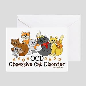 OCD Obsessive Cat Disorder Greeting Card