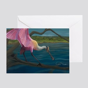 Swagger - Roseate Spoonbill Over Wat Greeting Card