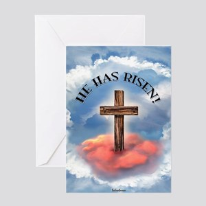 He Has Risen Rugged Cross With Cloud Greeting Card