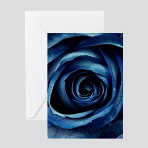 Decorative Blue Rose Bloom Greeting Cards