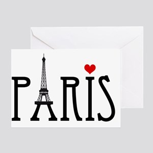 Love Paris with Eiffel tower and red Greeting Card