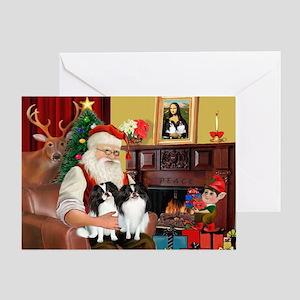 Santa's 2 Japanese Chins Greeting Card