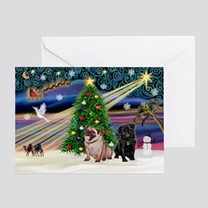 X Mas Magic & Pug Pair Greeting Card