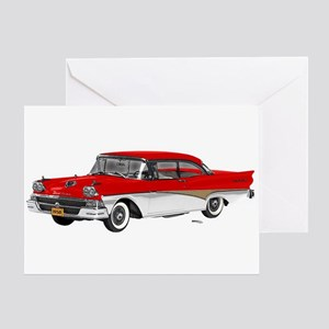 1958 Ford Fairlane 500 Red & White Greeting Card