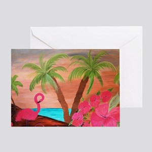 Flamingo in paradise Greeting Card