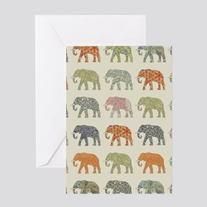 Elephant Colorful Repeating Pattern Greeting Cards