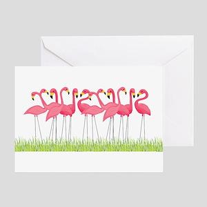 Cuban Pink Flamingos Greeting Cards