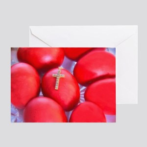 Greek Easter Eggs With Cross Greeting Cards