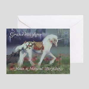 Granddaughter Birthday Card with Unicorn, Fantasy