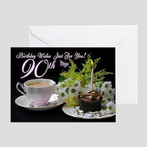 90th Birthday Greeting Card With Tea Cake Flowers