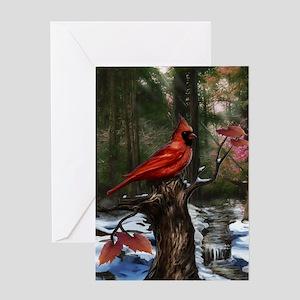cardinal bird art Greeting Cards