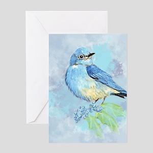Watercolor Bluebird Blue Bird Art Greeting Cards