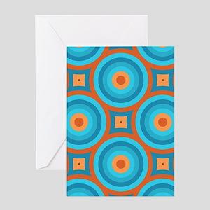 Orange and Blue Mid Century Modern Greeting Cards