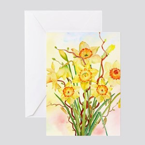 Watercolor Daffodils Yellow Spring Greeting Cards