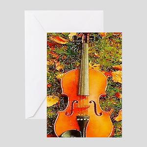 romantic fall leaves violin Greeting Cards