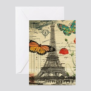 vintage butterfly paris eiffel towe Greeting Cards