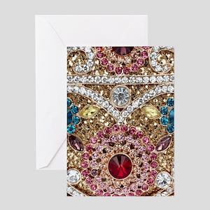 bohemian turquoise red rhinestone Greeting Cards